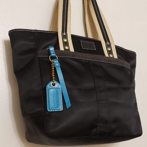Coach Blue & Gold Detailed Handbag